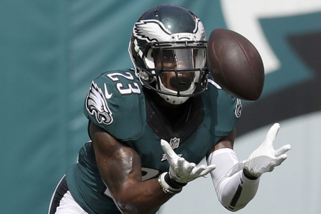 Eagles' defensive back Rodney McLeod intercepts the football during the second-quarter against the Cleveland Browns on Sunday, September 11, 2016.  YONG KIM / Staff Photographer