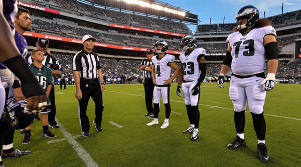 Rodney's Return. Midfield Coin toss August 22nd by Drew Hallowell/Philadelphia Eagles